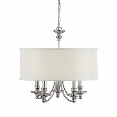 Polished Nickel 5-Light Drum Chandelier