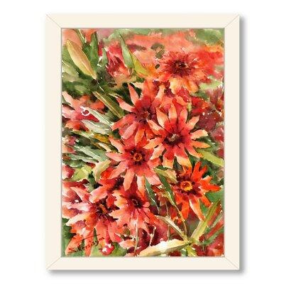 Blanket Flowers Framed Painting Print Frame Color: White