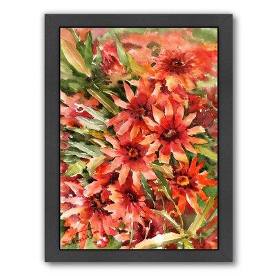 Blanket Flowers Framed Painting Print Frame Color: Black