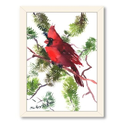 Cardinal Framed Painting Print Frame Color: White