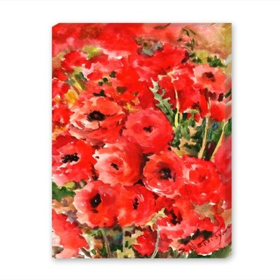 Red Buttercups Painting Print on Gallery Wrapped Canvas