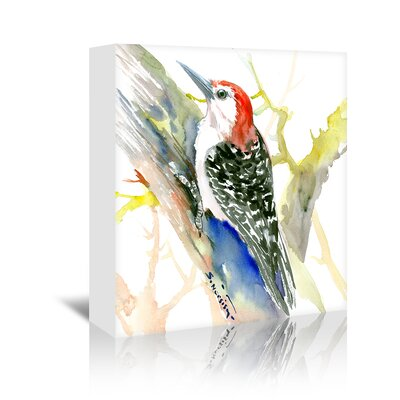 Red Bellied Woodpecker Square Original Painting on Wrapped Canvas