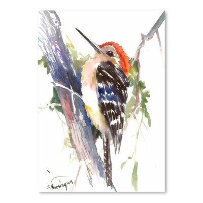 Red Headed Woodpecker Painting Print