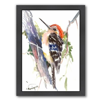 Red Headed Woodpecker Framed Painting Print