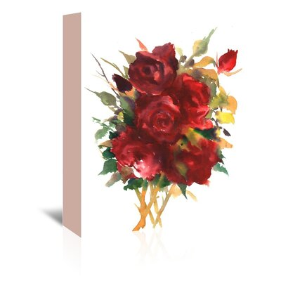 Deep Red Roses Painting Print on Wrapped Canvas