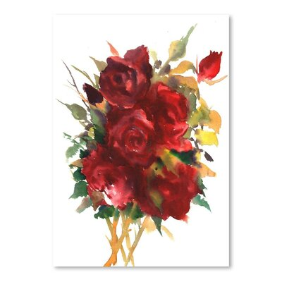 Deep Red Roses Painting Print