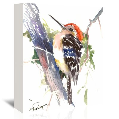 Red Headed Woodpecker Painting Print on Wrapped Canvas