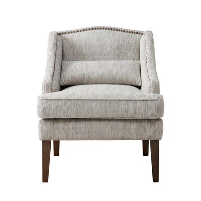 Kentland Swoop Arm Accent Chair Nailhead Detail: Bronze, Upholstery: Gray
