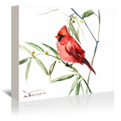 Red Cardinal 2 Painting Print on Gallery Wrapped Canvas