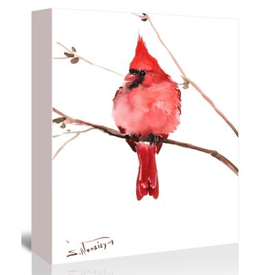 Red Cardinal 4 Painting Print on Gallery Wrapped Canvas