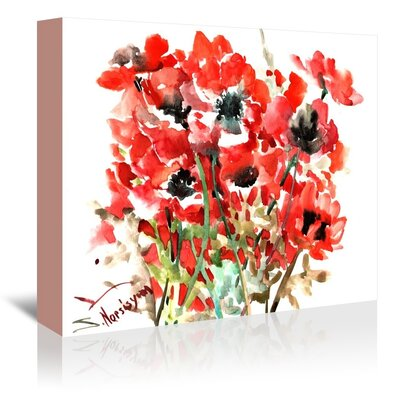 Red Anemones Painting Print on Gallery Wrapped Canvas