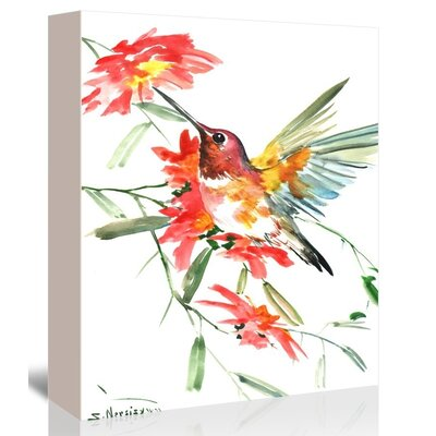 Hummingbird with Red Flowers Painting Print on Gallery Wrapped Canvas Size: 20
