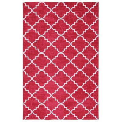 Clatterbuck Fancy Trellis Hot Pink Printed Area Rug Rug Size: Rectangle 76 x 10