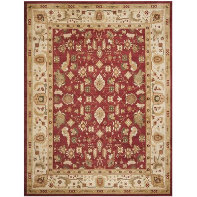 Lacourse Red/Creme Floral Area Rug Rug Size: 67 x 91
