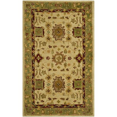 Ladd Ivory/Green Area Rug Rug Size: 3 x 5