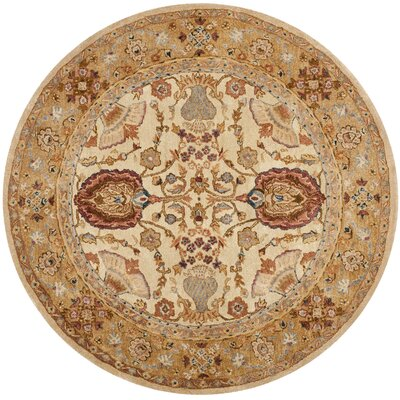 Dunstable Ivory/Taupe Area Rug Rug Size: Round 6