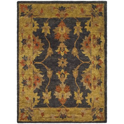 Lafountain Charcoal/Gold Area Rug Rug Size: Rectangle 3 x 5