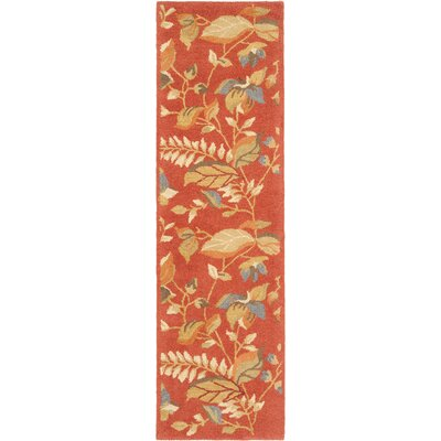 Donoghue Hand-Hooked Wool Rust Area Rug Rug Size: Runner 23 x 8