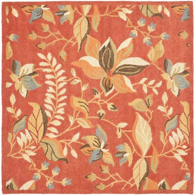 Donoghue Hand-Hooked Wool Rust Area Rug Rug Size: Square 6