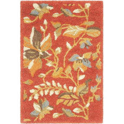 Donoghue Hand-Hooked Wool Rust Area Rug Rug Size: Rectangle 4 x 6