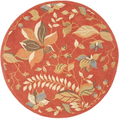 Donoghue Hand-Hooked Wool Rust Area Rug Rug Size: Round 6