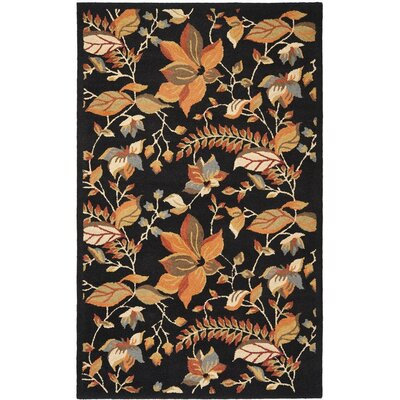 Donoghue Hand-Woven Wool Black Area Rug Rug Size: Rectangle 4 x 6