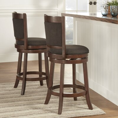 Heartwood 24 Swivel Bar Stool Upholstery: Dark Grey