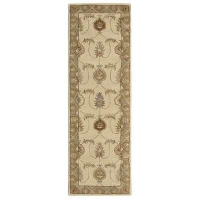 Donohoe Hand-Woven Ivory/Gold Area Rug Rug Size: Runner 23 x 76
