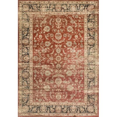 Alexis Red/Ivory Area Rug Rug Size: 4 x 6