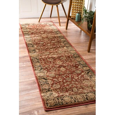 Alexis Red/Ivory Area Rug Rug Size: Runner 25 x 8