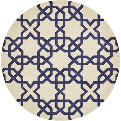 Molly Trellis Beige Area Rug Rug Size: Round 8