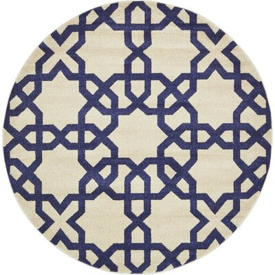 Molly Trellis Beige Area Rug Rug Size: Round 6