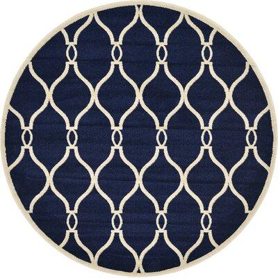Duluth Navy Blue Area Rug Rug Size: Round 6