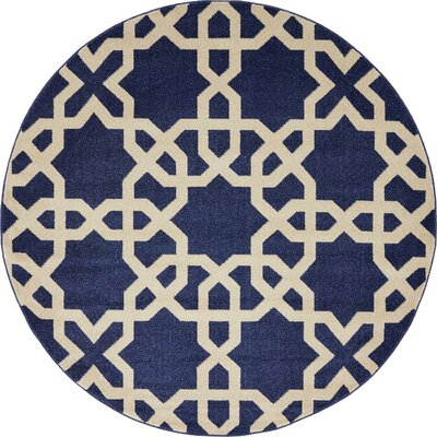 Moore Blue/Beige Area Rug Rug Size: Round 6