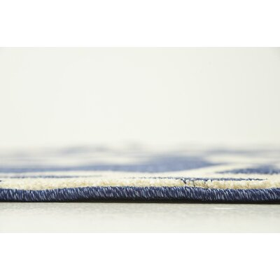 Molly Blue/Beige Area Rug Rug Size: Round 6