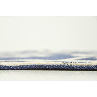 Duluth Blue/Beige Area Rug Rug Size: Round 6