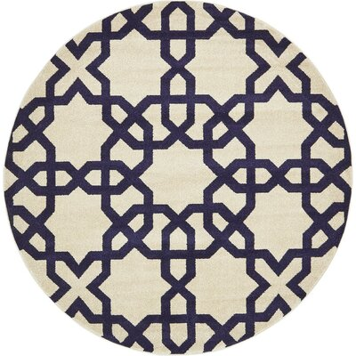 Molly Turkish Trellis Beige Area Rug Rug Size: Round 6