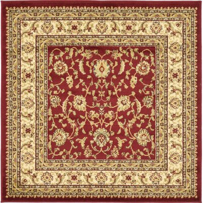 Fairmount Red/Cream Area Rug Rug Size: Square 4'