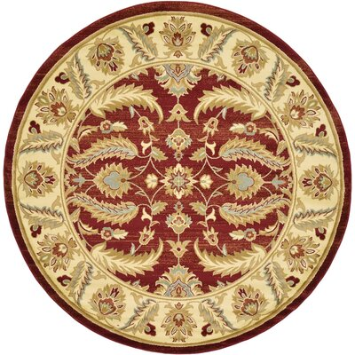 Fairmount Red Area Rug Rug Size: Round 8'
