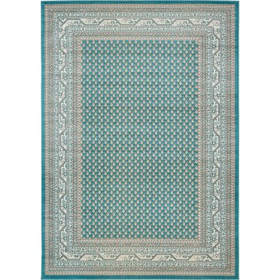 Gillam Teal Area Rug Rug Size: Round 8