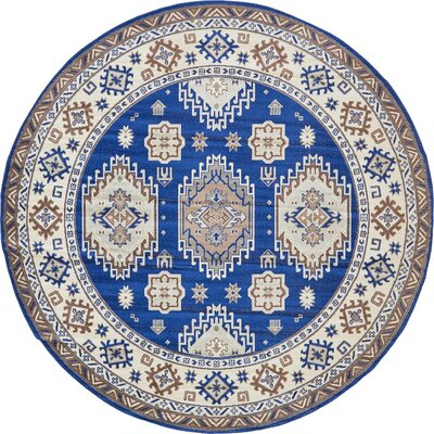 Gillam Navy Blue Area Rug Rug Size: Round 8'