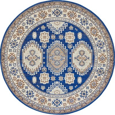 Gillam Navy Blue Area Rug Rug Size: Round 5'