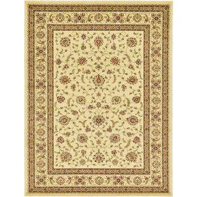 Roseland Cream/Brown Area Rug Rug Size: 7' x 10'
