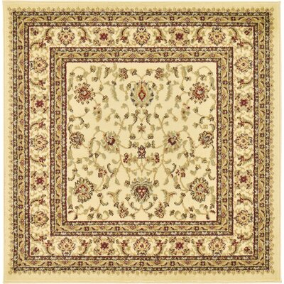 Roseland Cream/Brown Area Rug Rug Size: Square 4