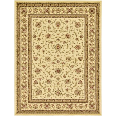 Roseland Cream/Brown Area Rug Rug Size: 10'6