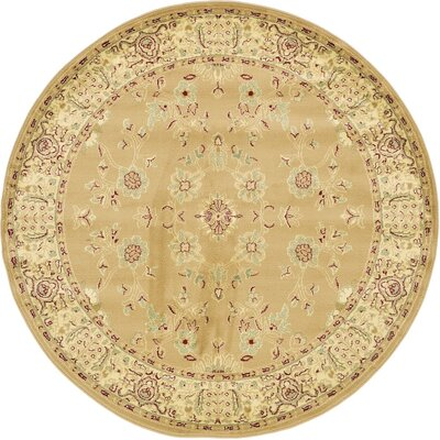 Roseland Tan Area Rug Rug Size: Round 6