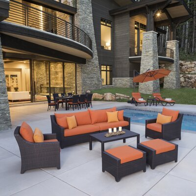 Northridge Estate Patio 20 Piece Deep Seating Group with Cushion Fabric: Tika Orange