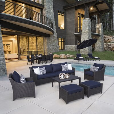 Northridge Estate Patio 20 Piece Deep Seating Group with Cushion Fabric: Navy