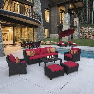 Northridge Estate Patio 20 Piece Deep Seating Group with Cushion Fabric: Cantina Red
