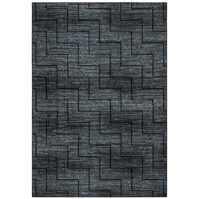Kieran Black Area Rug Rug Size: Rectangle 53 x 77